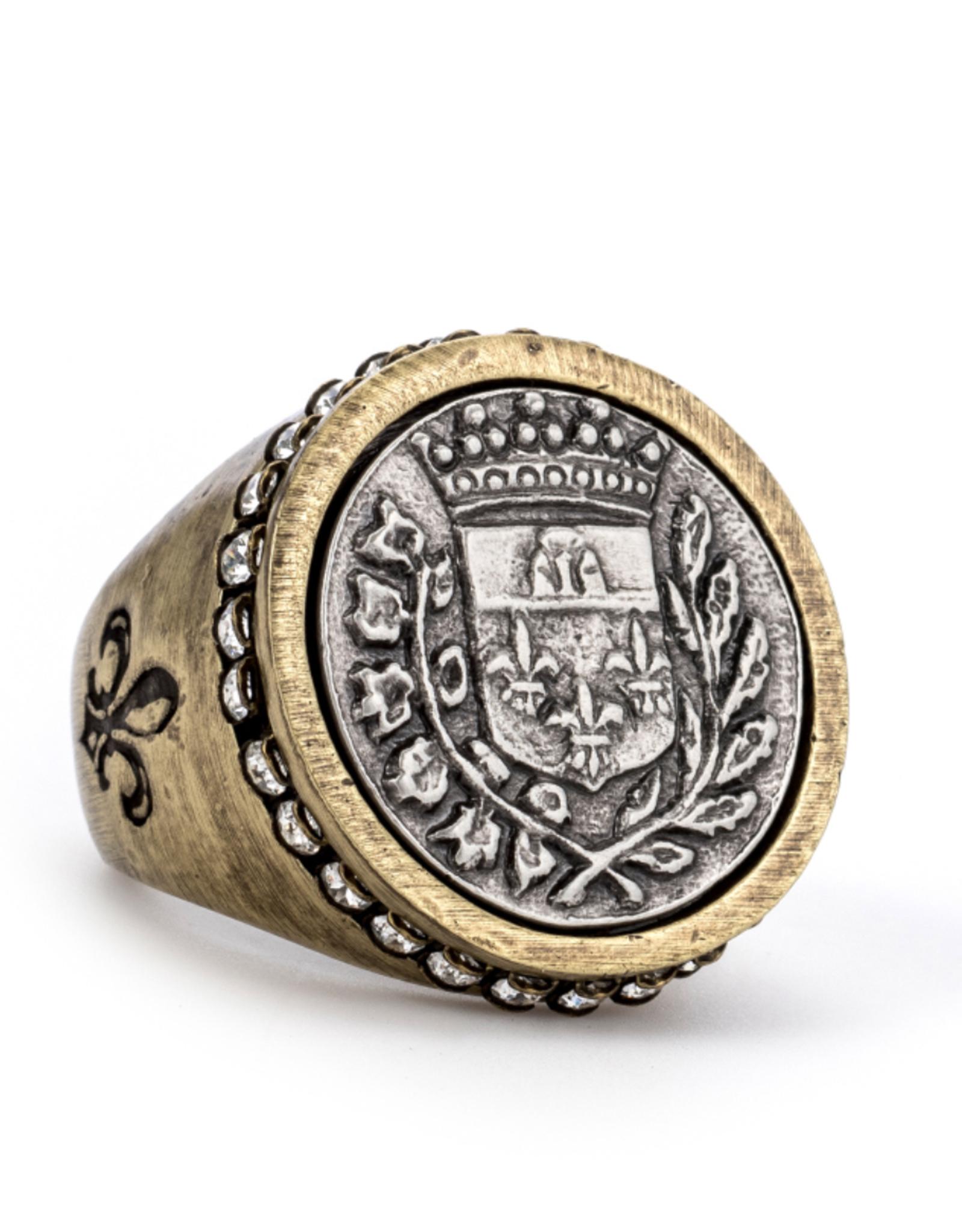French Kande Swarovski Signet Gustave Medallion Ring