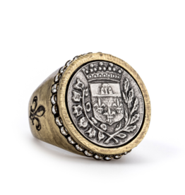 French Kande Swarovski Signet Gustave Medallion Ring