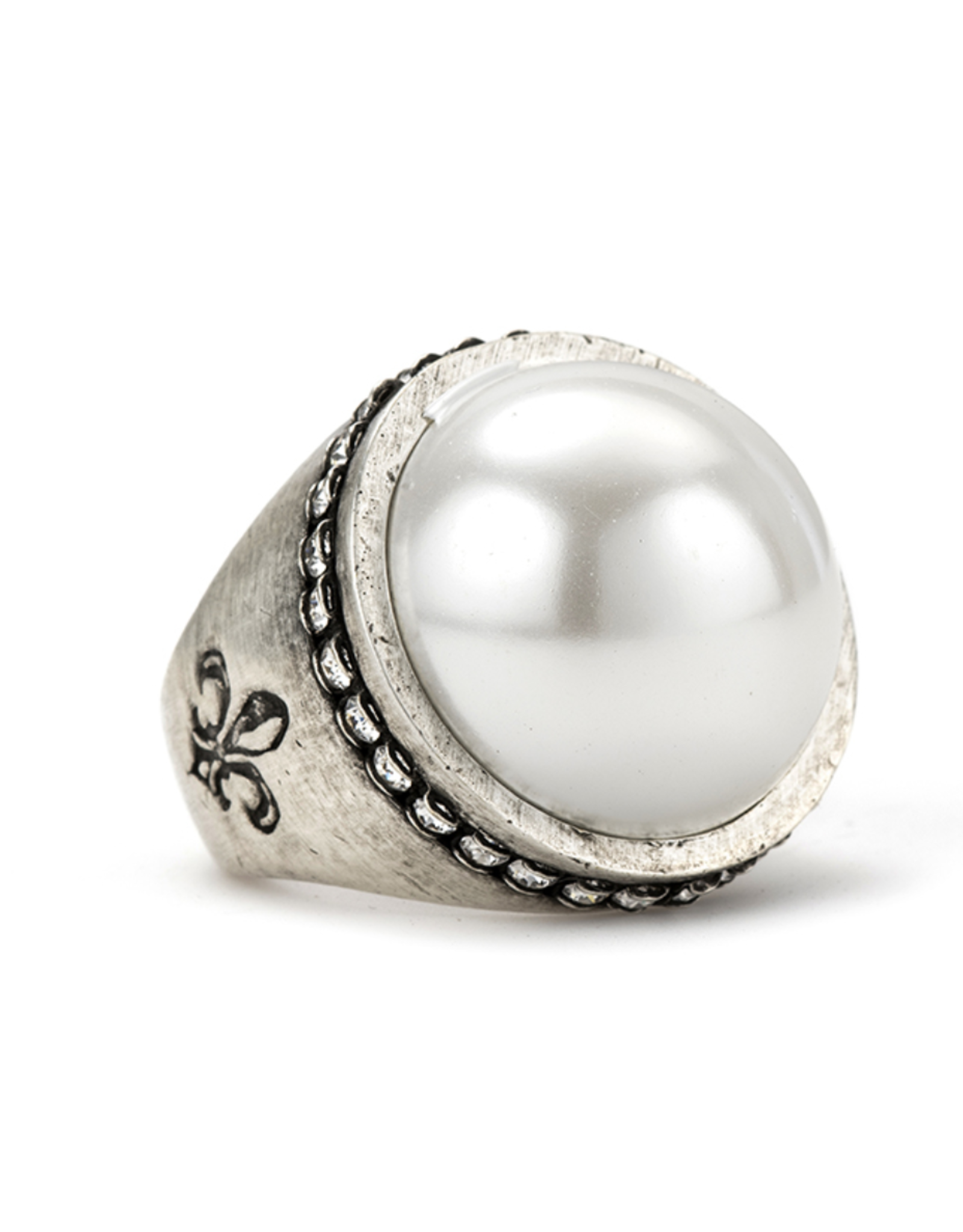 French Kande Swarovski Signet Pearl Ring