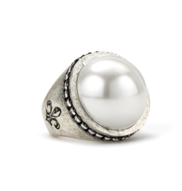 French Kande Swarovski Signet Pearl Ring