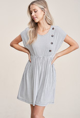 Button Stripe Knit Dress