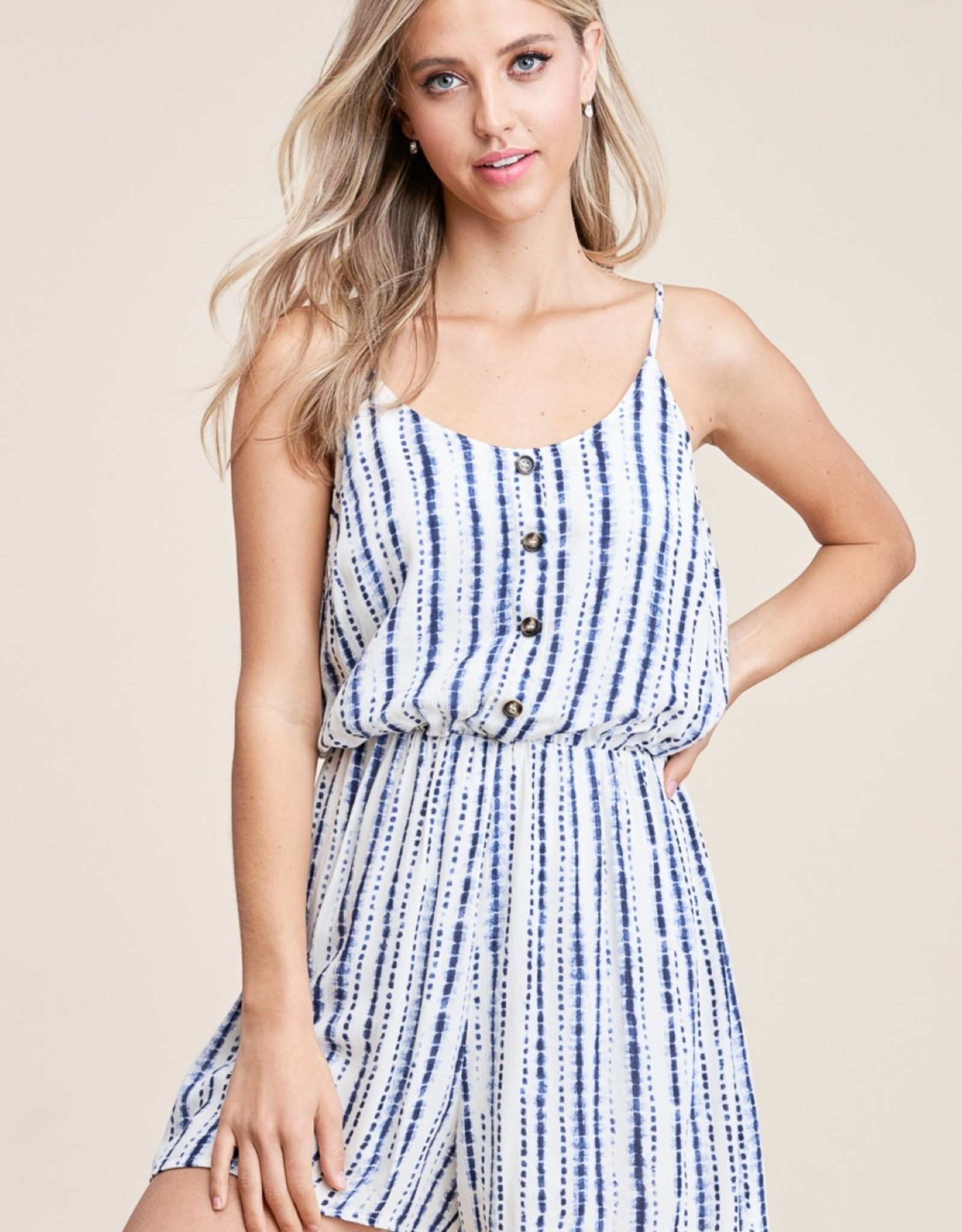 Button Down Navy/Ivory Romper