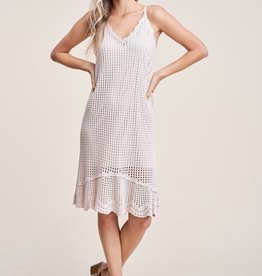 Pointelle Detail Ruffle Natural Dress