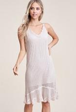 Pointelle Detail Ruffle Natural Dress