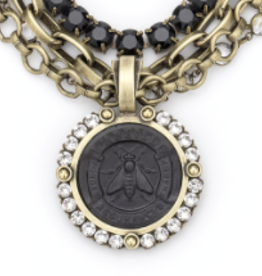 "French Kande 16"" Four Strand Black Abeille Medallion Necklace"