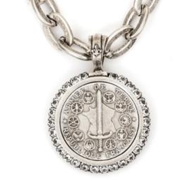"French Kande 17""Lourdes Chain Swarovski Canal Bezel Du Terre Medallion"
