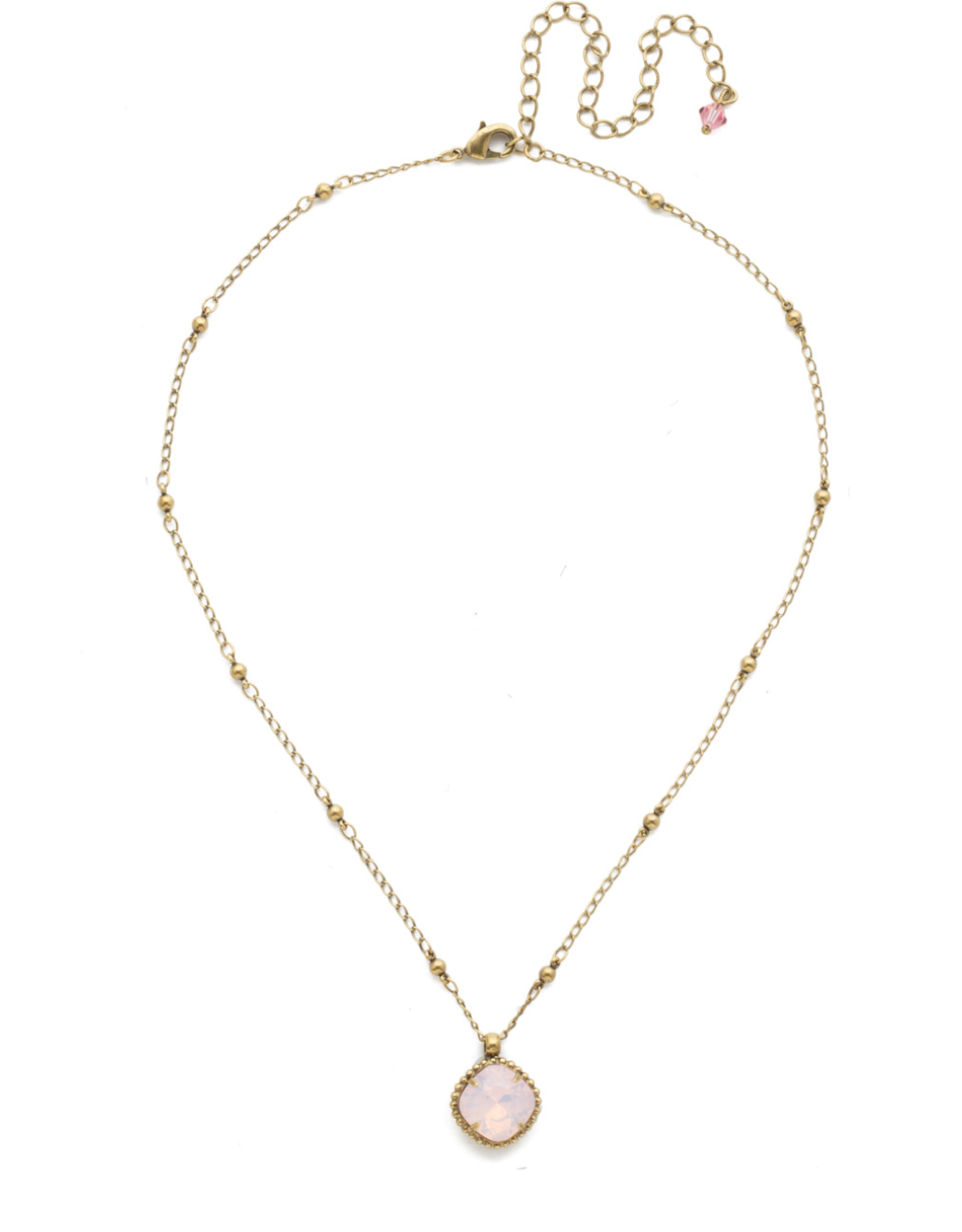 Cushion-Cut Solitaire Necklace in Antique Gold