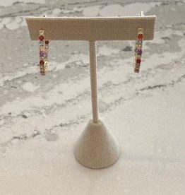 Gold Multi Colored Diamond Studded Hoop Earrings