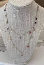 Silver Mini Teardrop Multi Jewel Necklace
