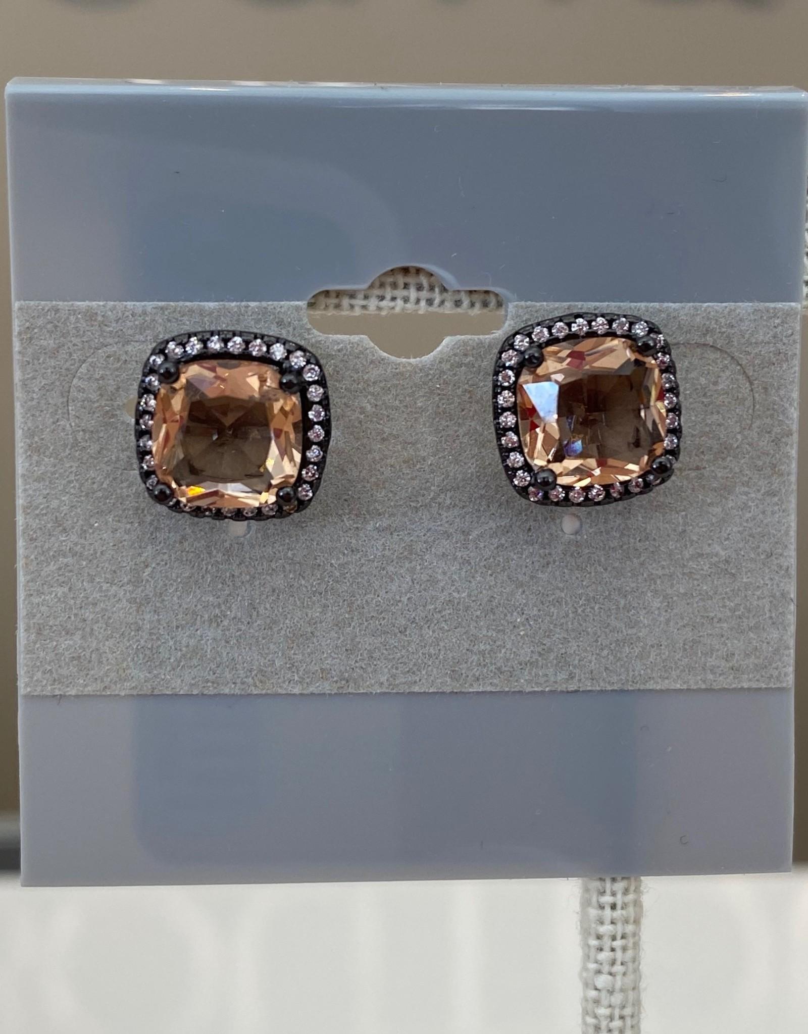 Square Jewel Earring Black/Champagne