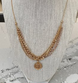 Gold & Pink Coin Necklace
