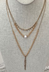 3 Layer Champagne / Gold Necklace