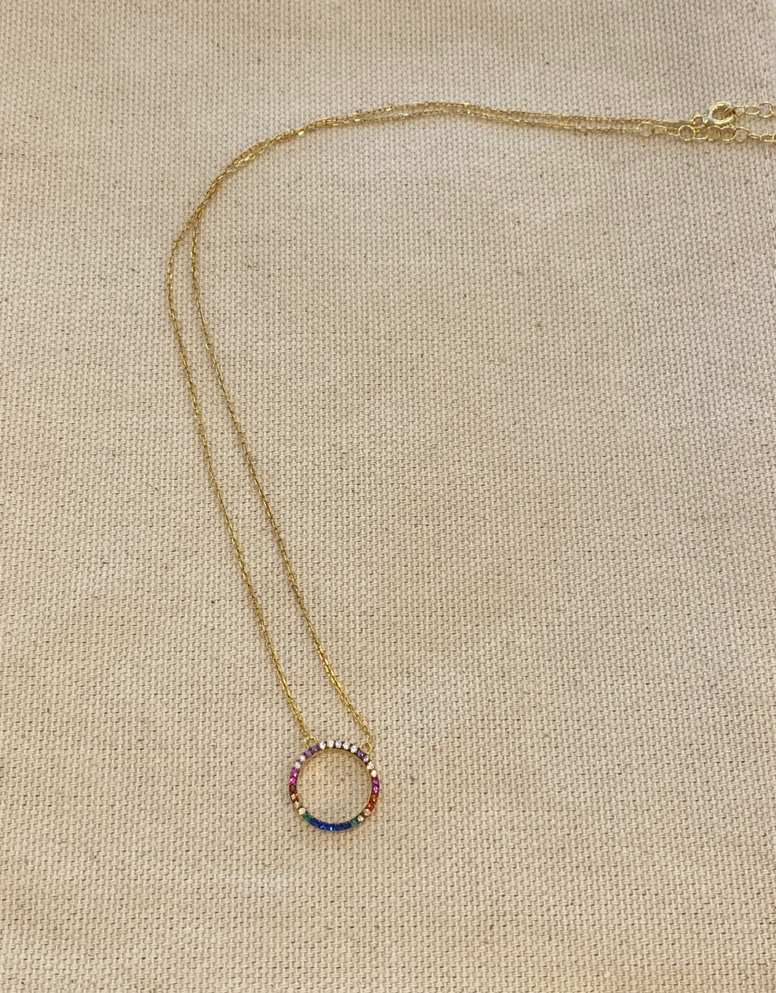 Gold Rainbow Studded Circle Necklace