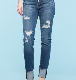 Judy Blue Destroyed Button Fly Cuff Skinny