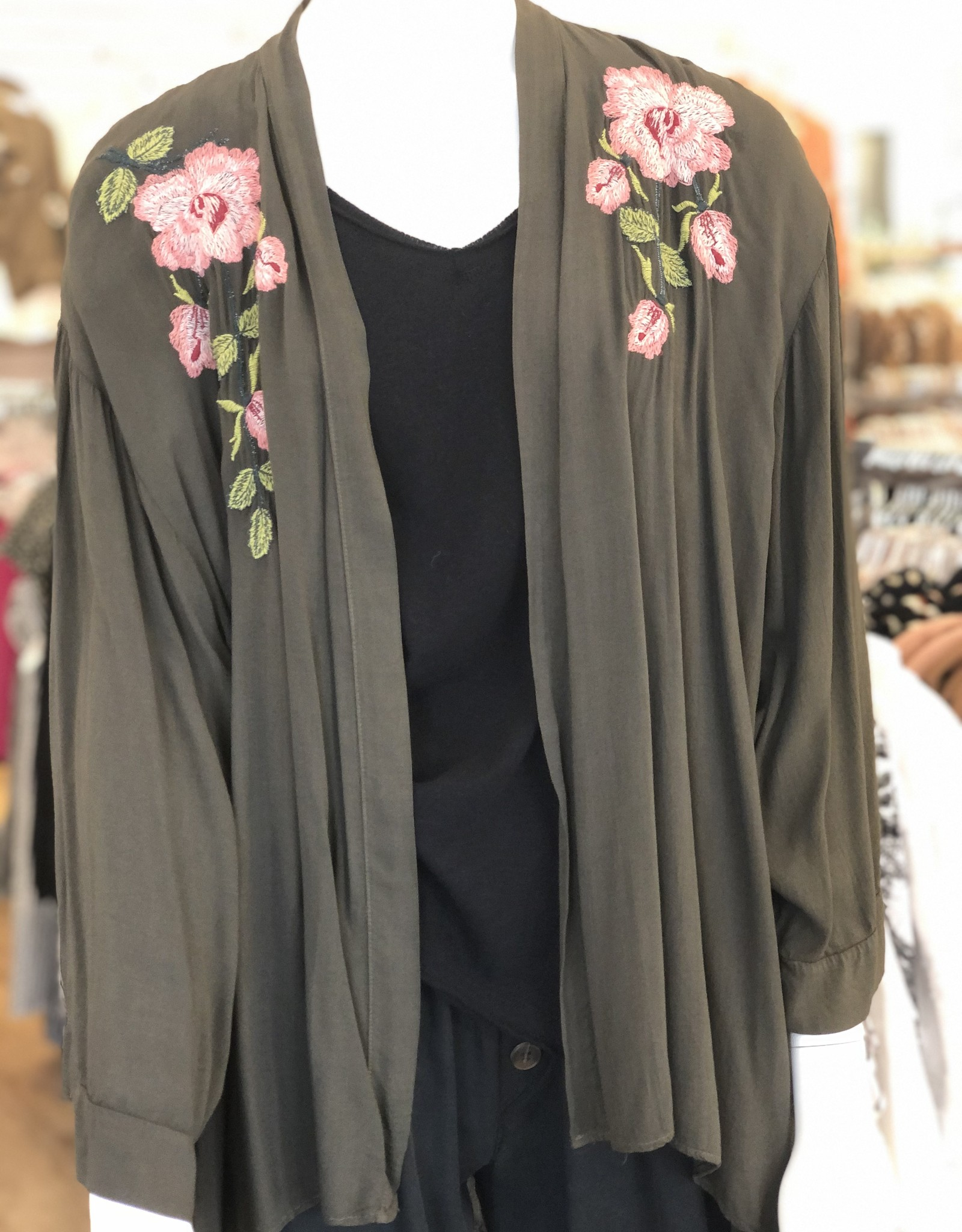 Embroidered Short Sleeve Cardigan