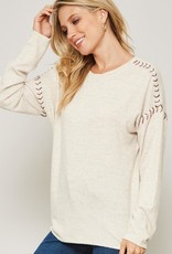 Long Sleeve Shoulder Stitch Oatmeal L