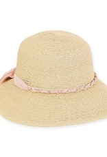 Paper Braid Hat Natural/Pink