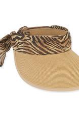 Chiffon Scarf Paper Braid Hat Zebra/Natural