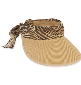 Chiffon Scarf Paper Braid Hat Zebra/Natural