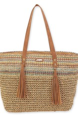 Poly Straw Shoulder Tote