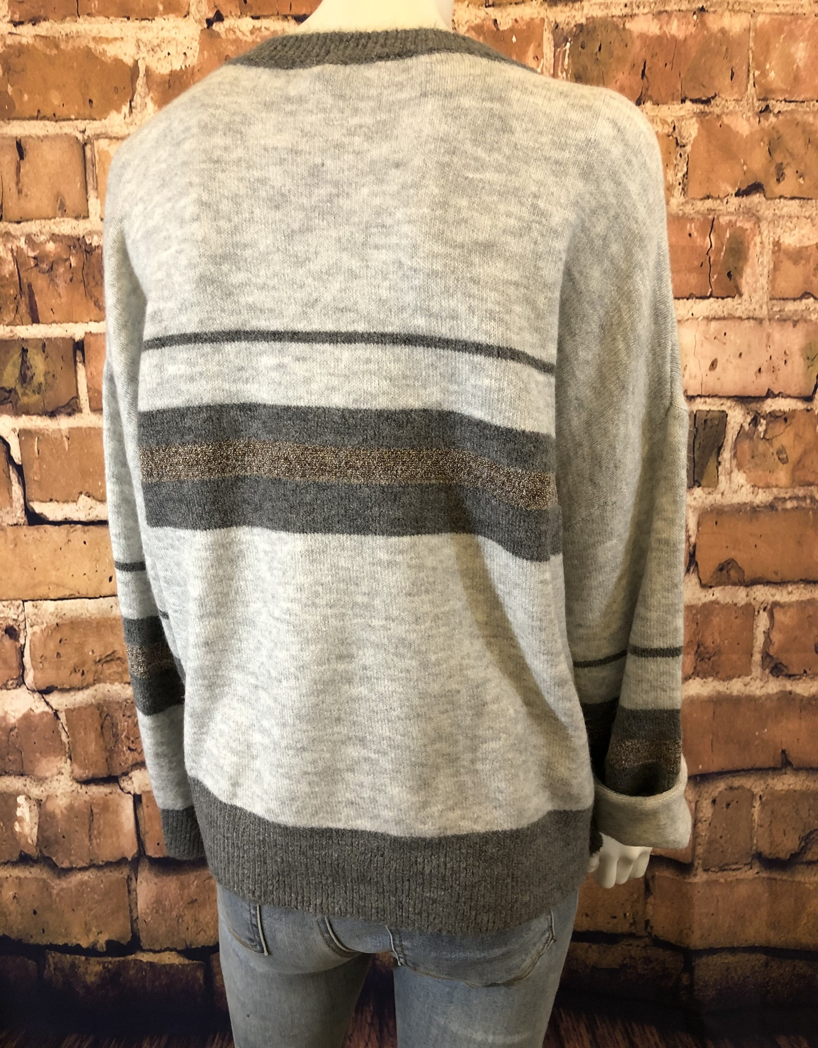 Dolman Sleeve Multi Stripe Sweater