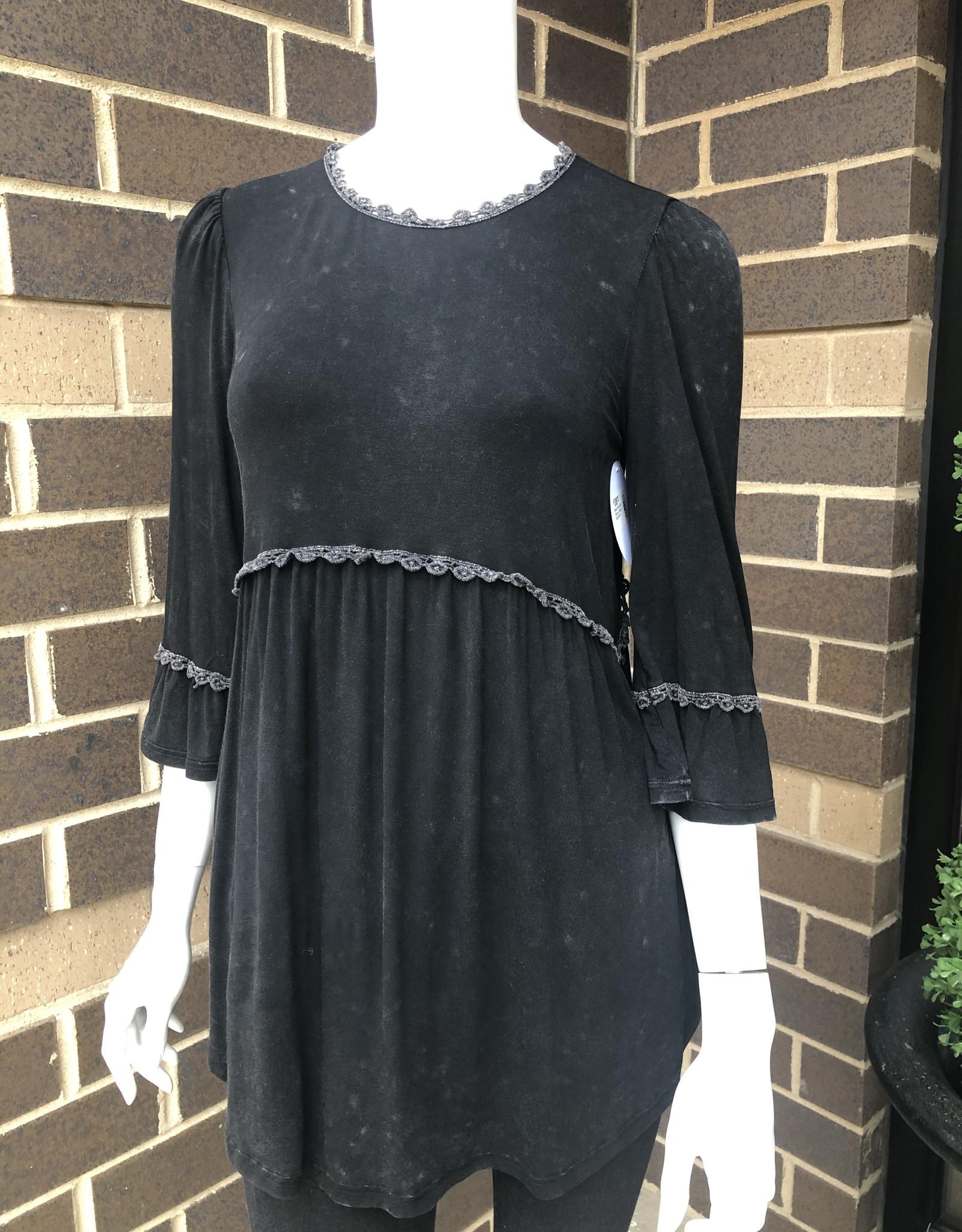 Black Knit 3/4 Sleeve Tunic