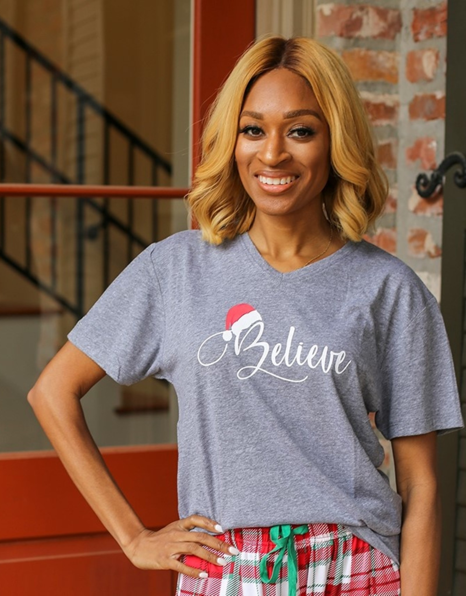 Believe V Neck Tee