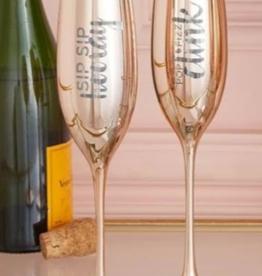 6oz Champagne Flutes Sip Sip Rose Gold
