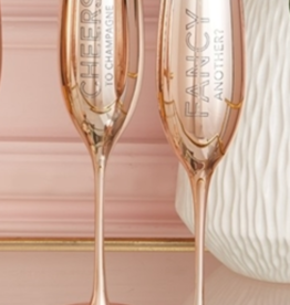 6oz Champagne Flute Cheers Rose Gold