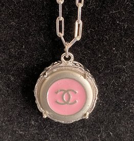 Kathrine Chanel Button Pink/Silver Necklace