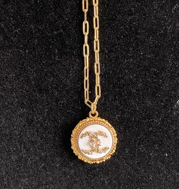Mary Chanel Crystal Button Necklace White/Gold