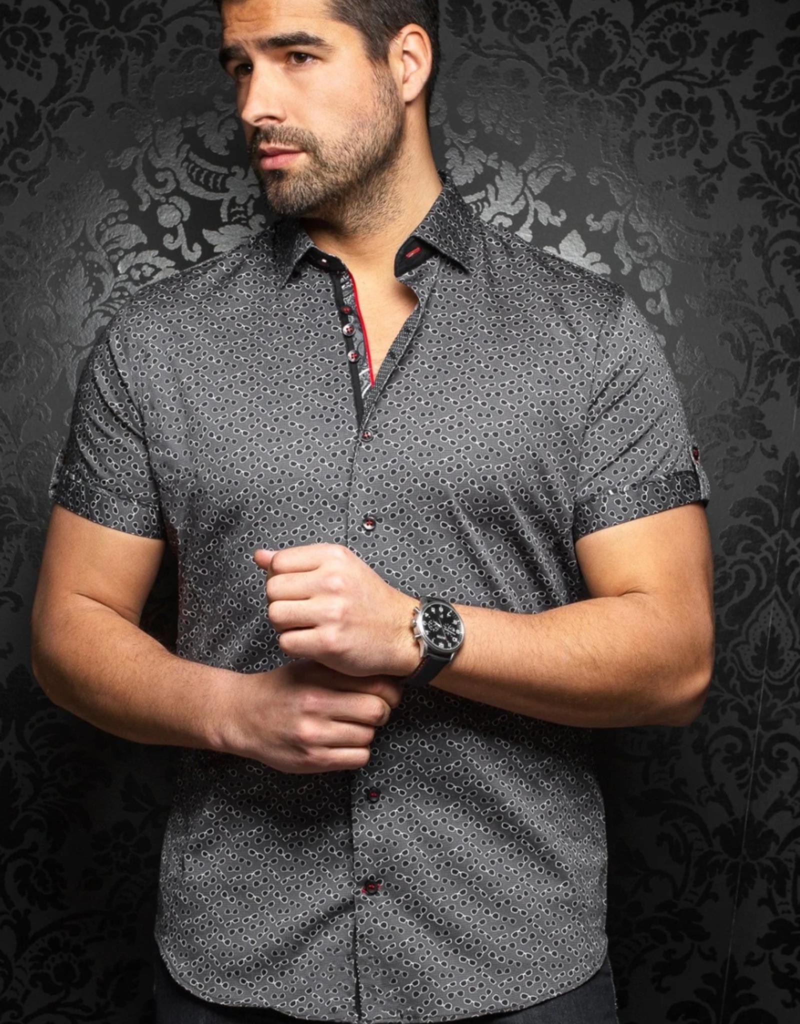 Au Noir Whisky Short Sleeve Satin Dress Shirt