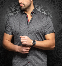 Au Noir Whisky Short Sleeve Satin Dress Shirt