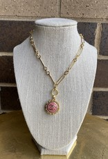 """17"""" Chanel Button Necklace Pink/Gold"""