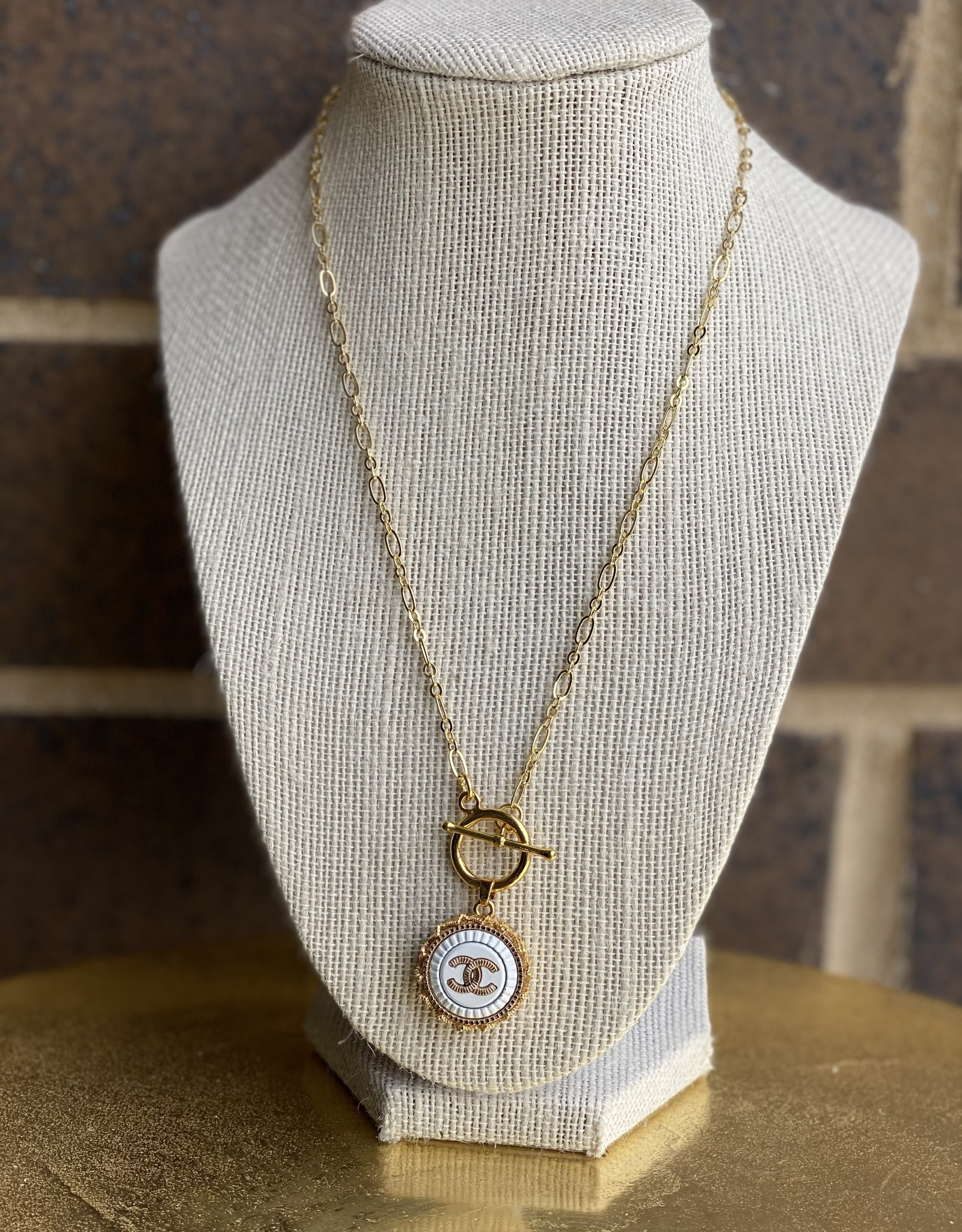 """17"""" Chanel Button Necklace Gold/White"""