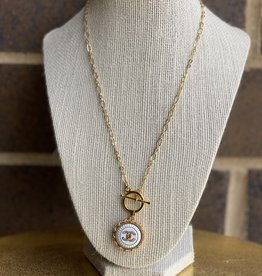 "17"" Chanel Button Necklace Gold/White"