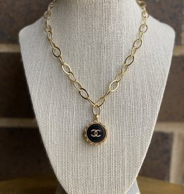 "17"" Chanel Button Necklace Gold/Black"