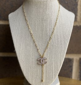 "16"" Chanel Crystal Button Necklace Gold"