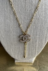 """16"""" Chanel Crystal Button Necklace Gold"""