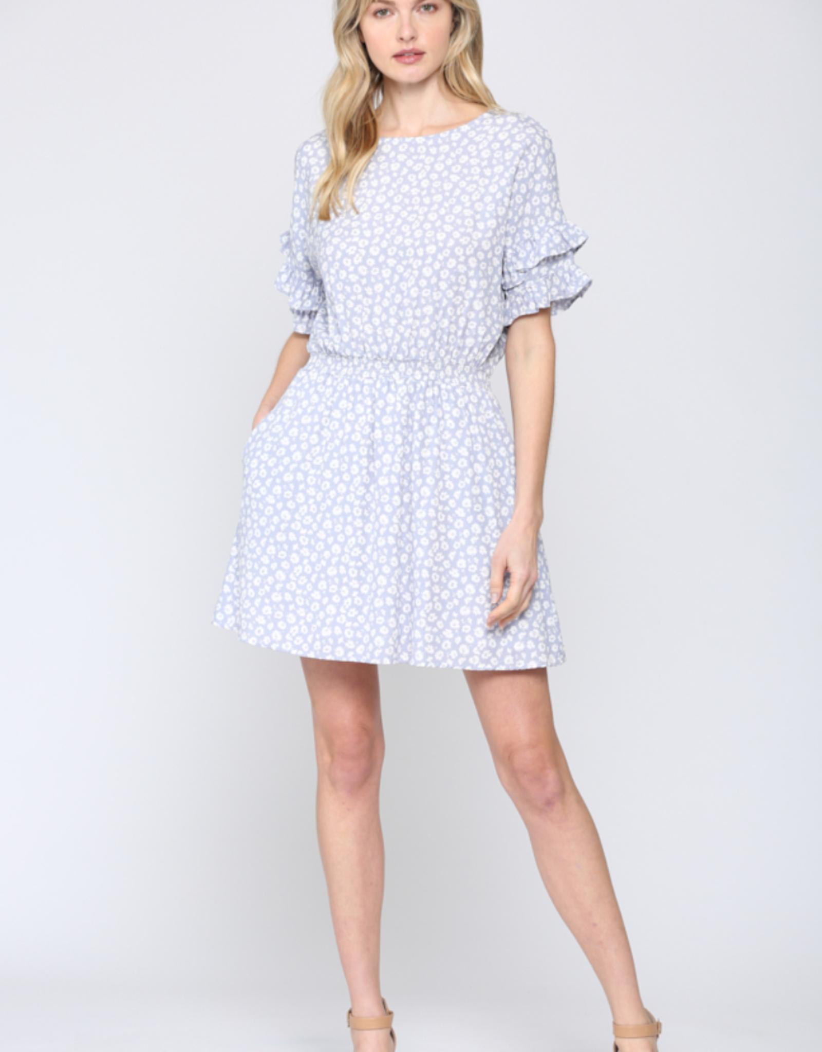 Ditsy Print Ruffle Sleeve Dress