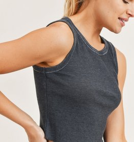Ribbed Mineral-Washed Cropped Tank