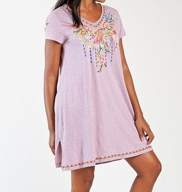 Jersey Short Sleeve Embroidered Dress