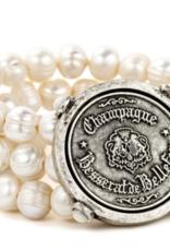 French Kande Triple Strand Fresh Water Pearl Bracelet