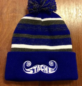 Stache Fleece Pom Hat- Blue
