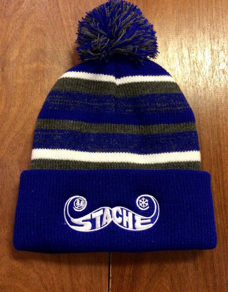 Stache Fleece Pom Hat- Blue
