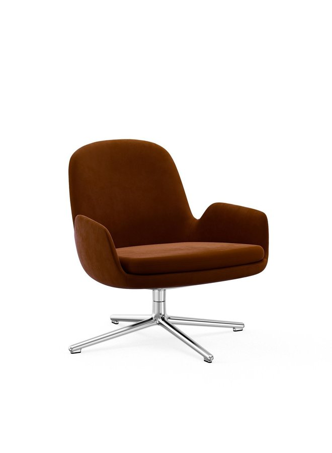 Era Lounge Chair Low Swivel Silver Aluminum