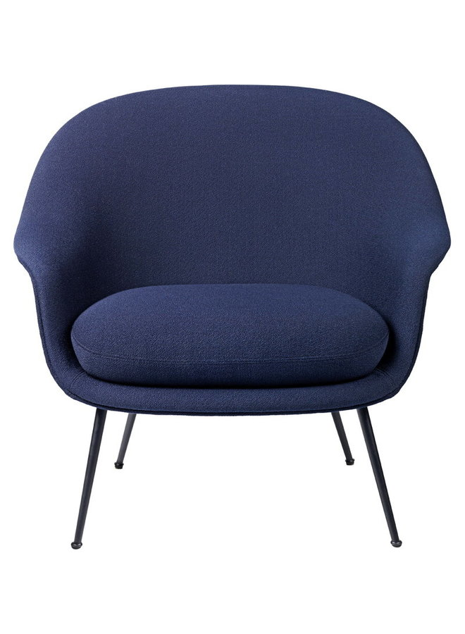 Bat Lounge Chair - Fully Upholstered, Low Back, Conic Base, Black Matte Tube Legs