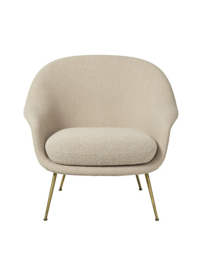 Bat Lounge Chair - Fully Upholstered, Low back, Conic base, Antique Brass