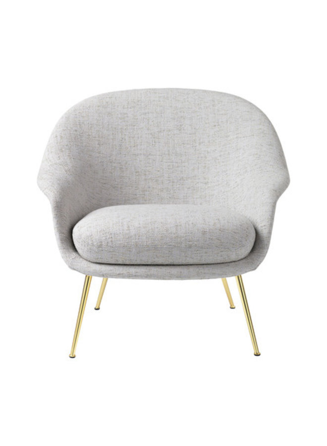 Bat Lounge Chair - Fully Upholstered, Low back, Conic base, Brass