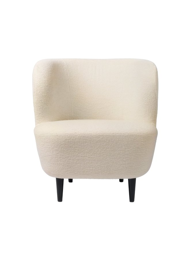 Stay Lounge Chair - Fully Upholstered, Small, Wooden legs (Oak Semi Matt Lacquered Base)